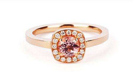 rose gold morganite halo engagement ring