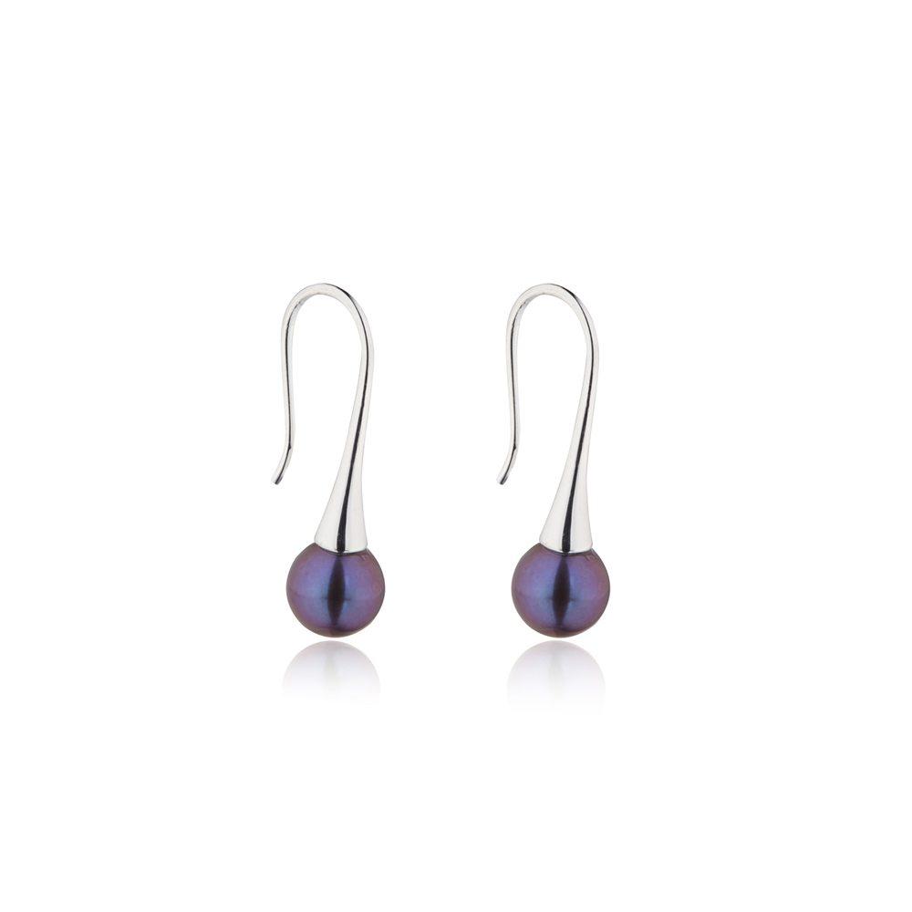 Delicate silver dark pearl drop earrings