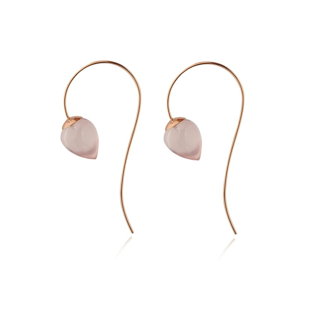 Nuppu earrings with rose quartz