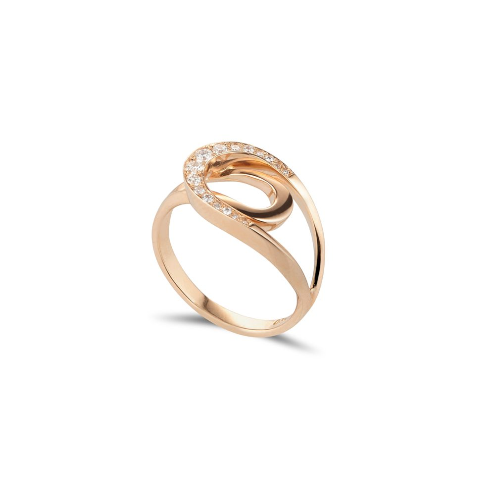 Rose gold and diamond fine tuohi ring