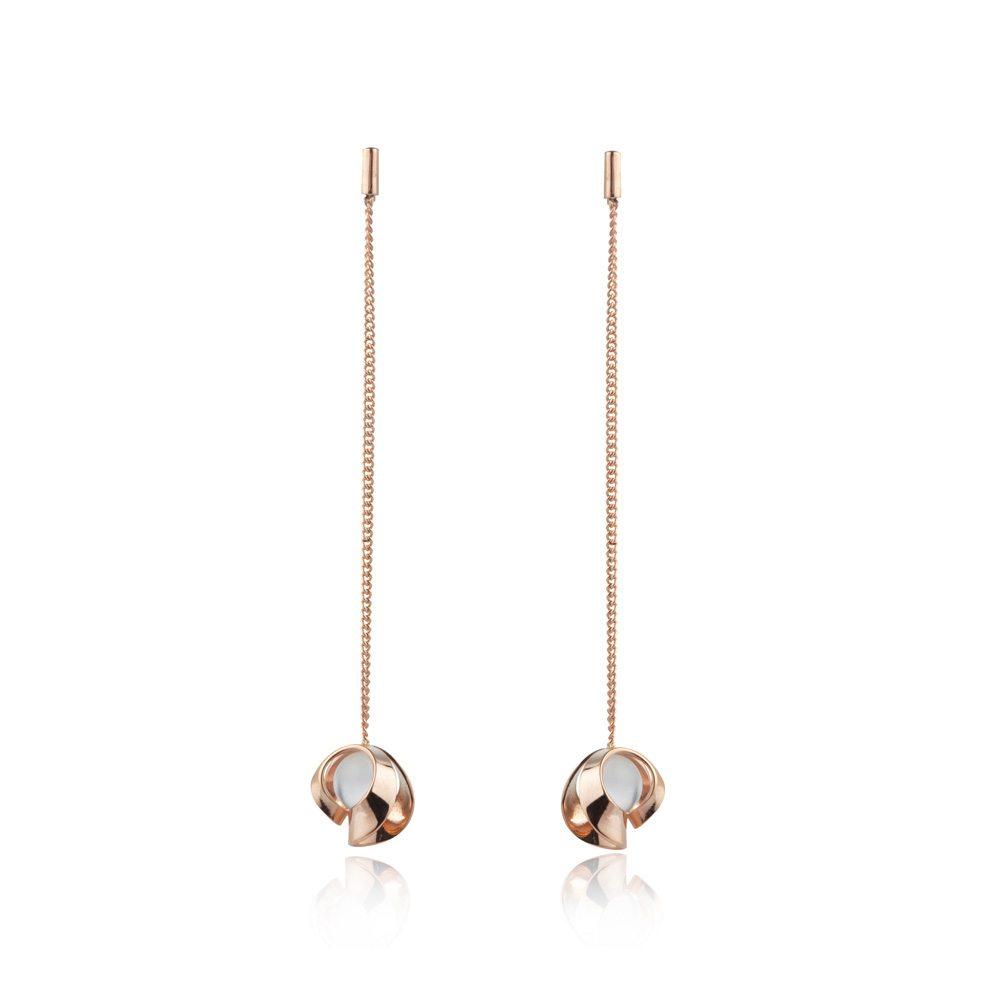 Rose gold and quartz long chain drop earrings