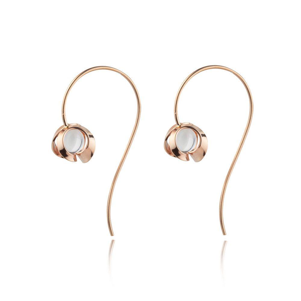 Rose gold and quartz drop earrings - medium