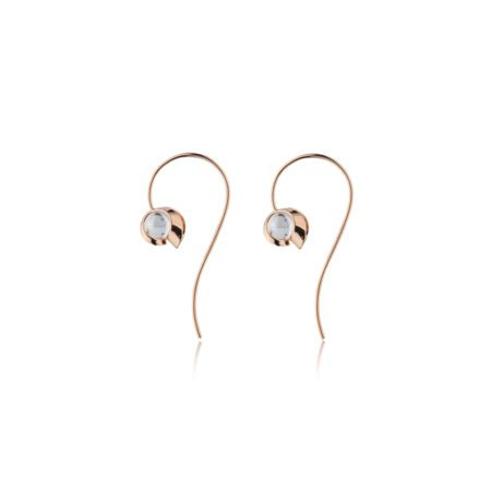 Rose gold and quartz drop earrings - small