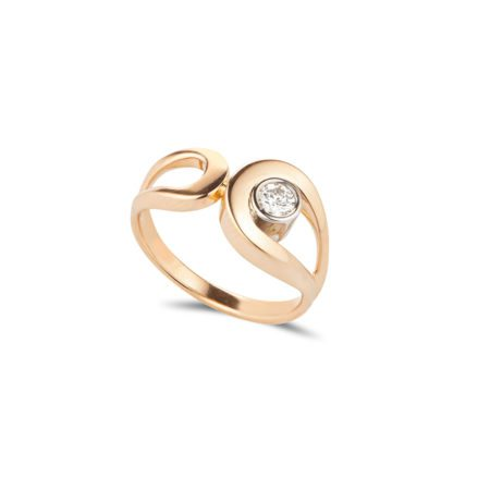 Rose gold and single diamond fine tuohi ring