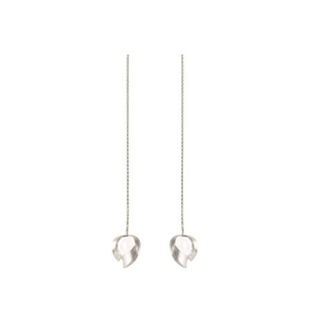 Silver and quartz long chain drop earrings