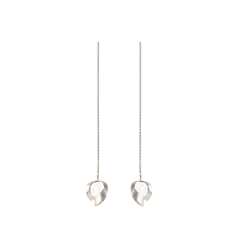 Silver and quartz long chain drop earrings