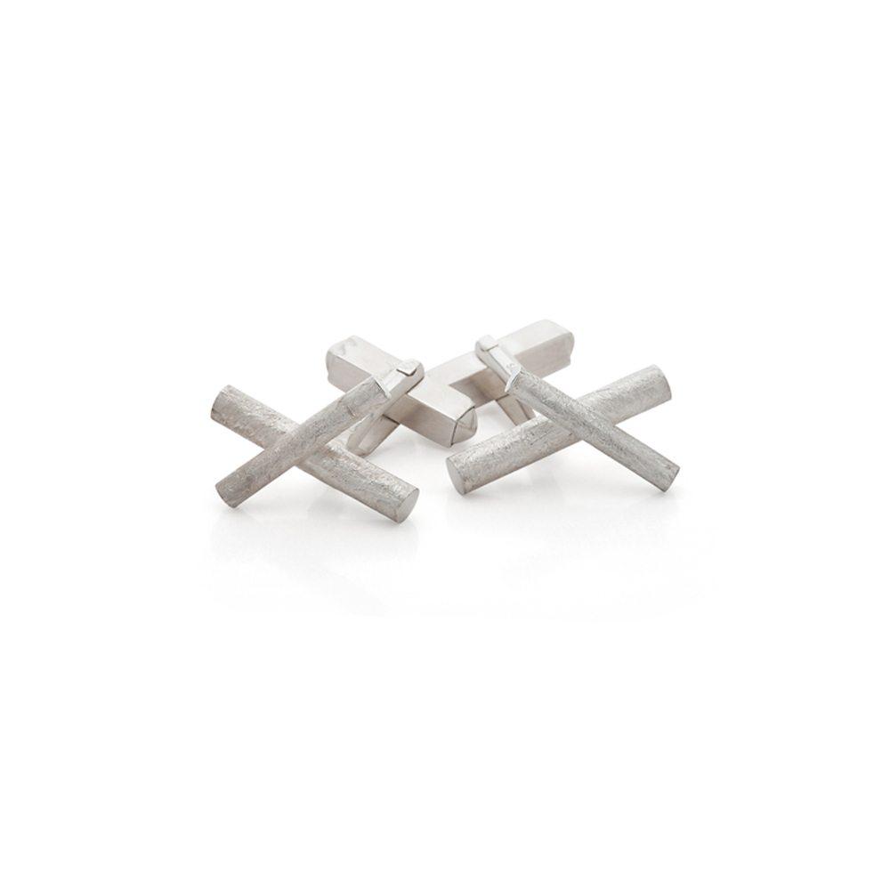 Silver crossover cufflinks