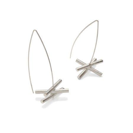 Silver modern statement large drop earrings