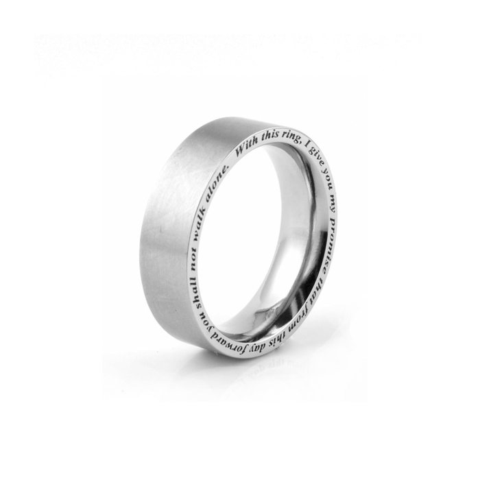 Titanium wedding ring with side engraving