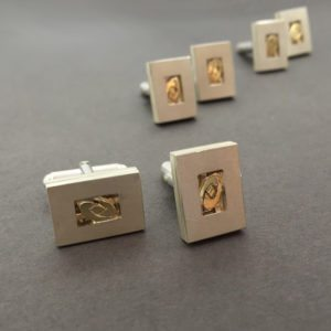 two-tone gold silver cufflinks from remodelled wedding ring