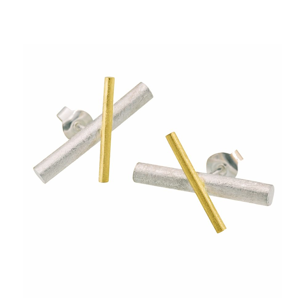Two-tone crossover stud earrings
