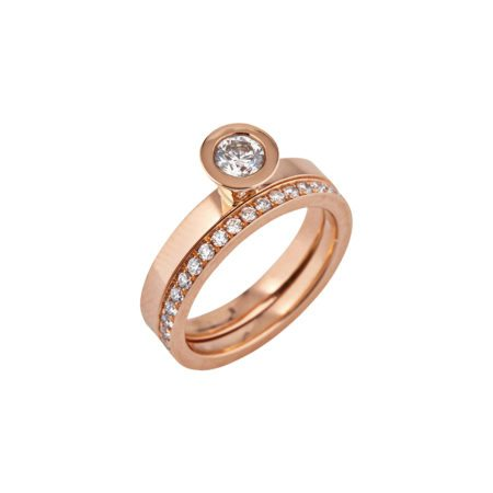 Aurora rose gold diamond stacking ring -6