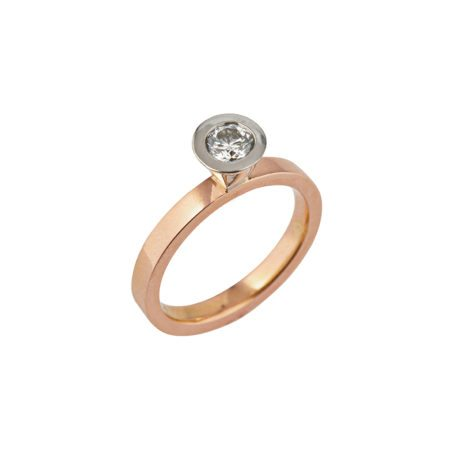 Aurora rose gold and silver diamond stacking ring -7