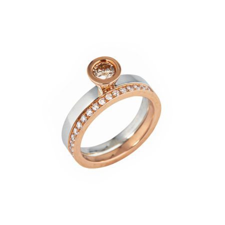Aurora rose gold diamond stacking ring -8