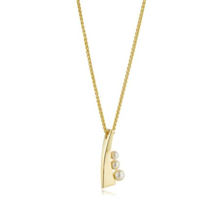 Small yellow gold pearl pendant - balance collection