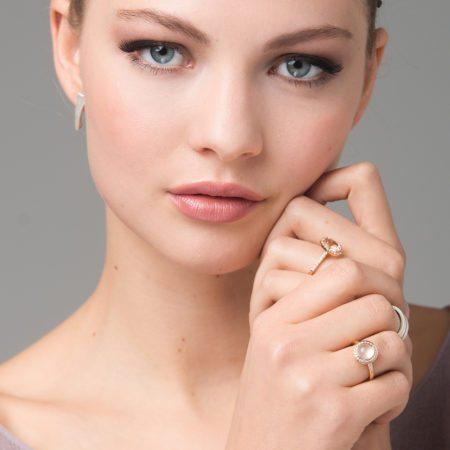 Balance stud earrings - Morganite montana - Nectar ring