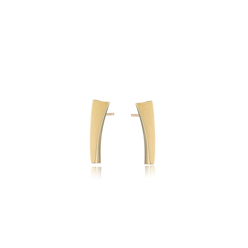 Balance drop stud earrings - gold