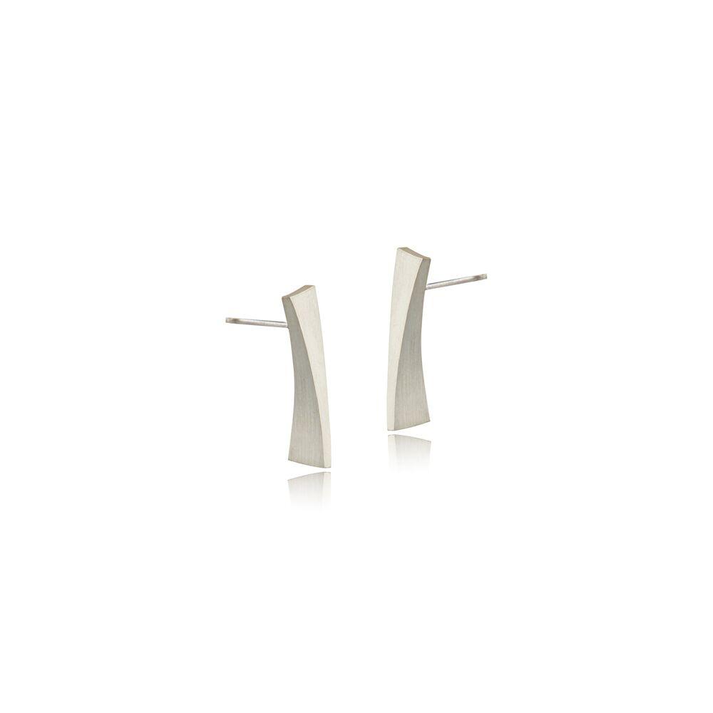 Balance long stud earrings - silver