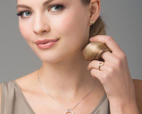 Birdie pendant and earrings - Galaxy ring