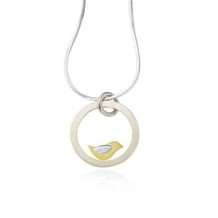 Birdie silver and gold pendant large