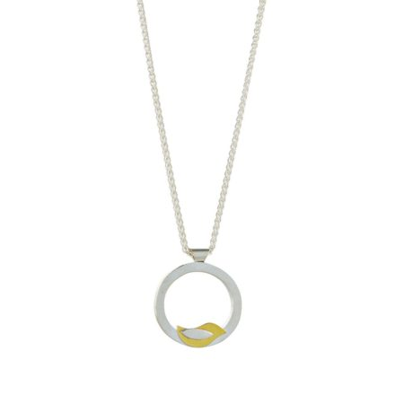 Birdie silver and gold neckalce pendant small