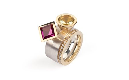 silver and gold stacking ring set garnet and yellow quartz