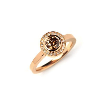 Chocolate diamond anvers rose gold engagement ring