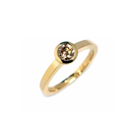 Chocolate diamond stockholm bezel solitaire gold engagement ring