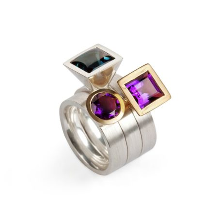 silver and gold Cocktail Ring set garnet turquoise