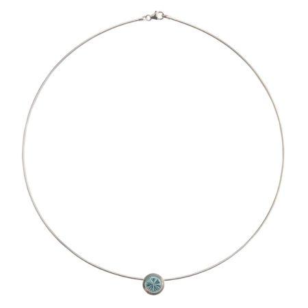 silver Cocktail pendant - blue topaz