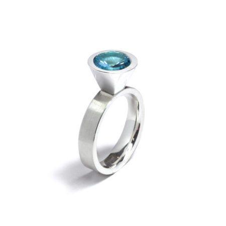 blue topaz silver large cocktail ring - December birthstone