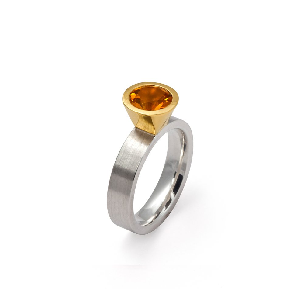two tone silver gold citrine modern cocktail ring