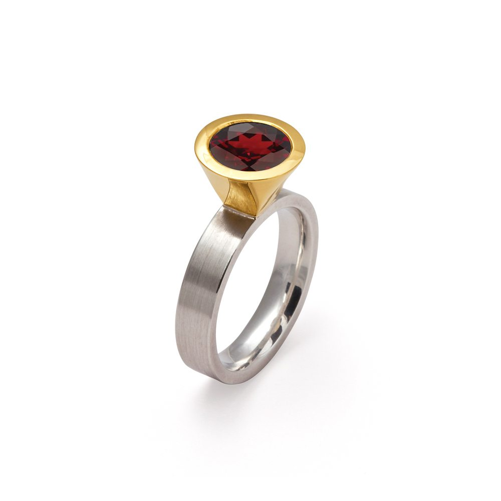 gold silver two tone garnet large cocktail ring