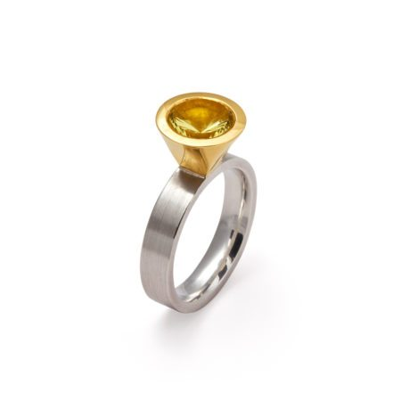 silver gold two tone lemon quartz cocktail ring