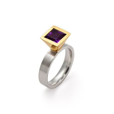 Cocktail ring - square amethyst - two tone