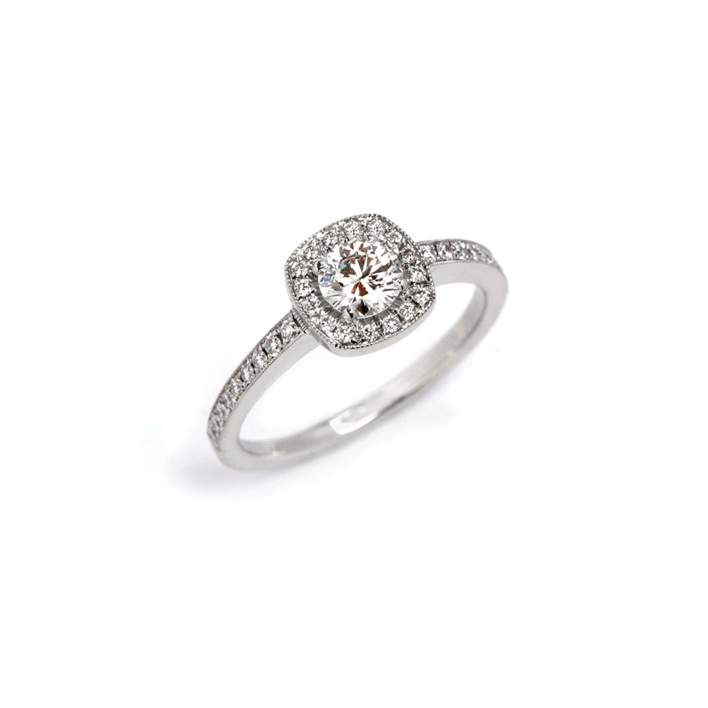 Diamond emelie vintage halo engagement ring
