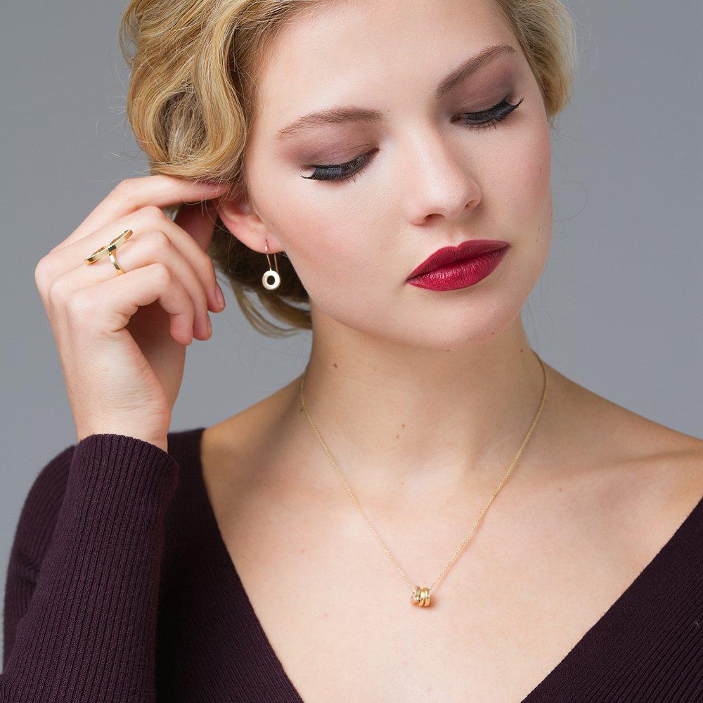 Gold trio pendant - Drop earrings