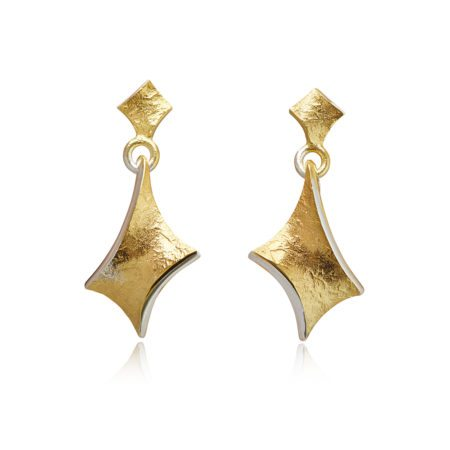 gold twist large dramatic drop earrings