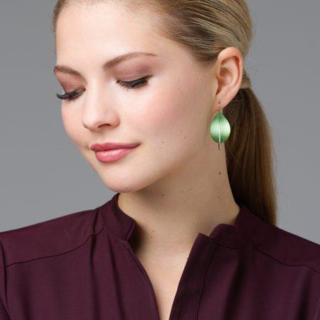 Green leaf earrings