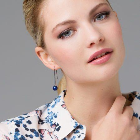 Long blue drop earrings