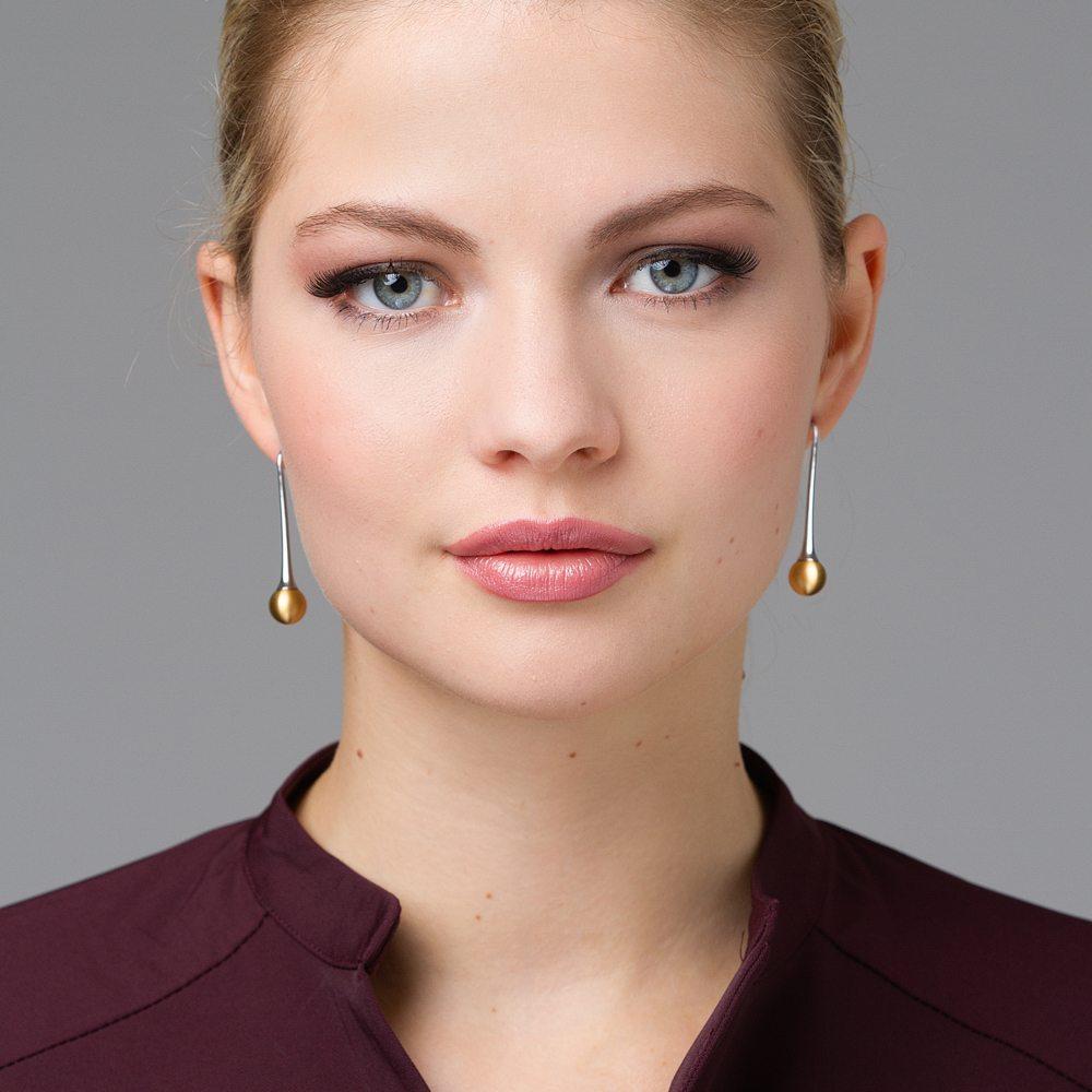 Long gold drop earrings