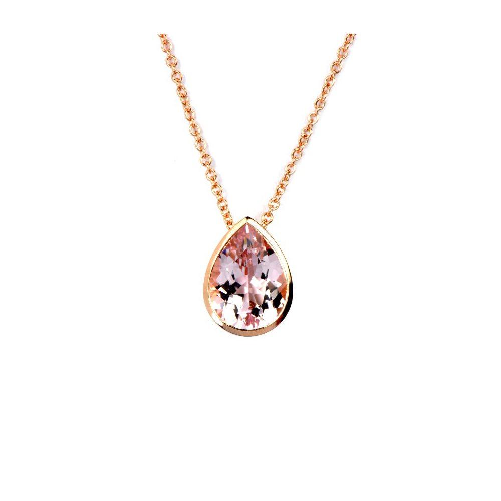 rose gold Morganite drop pendant
