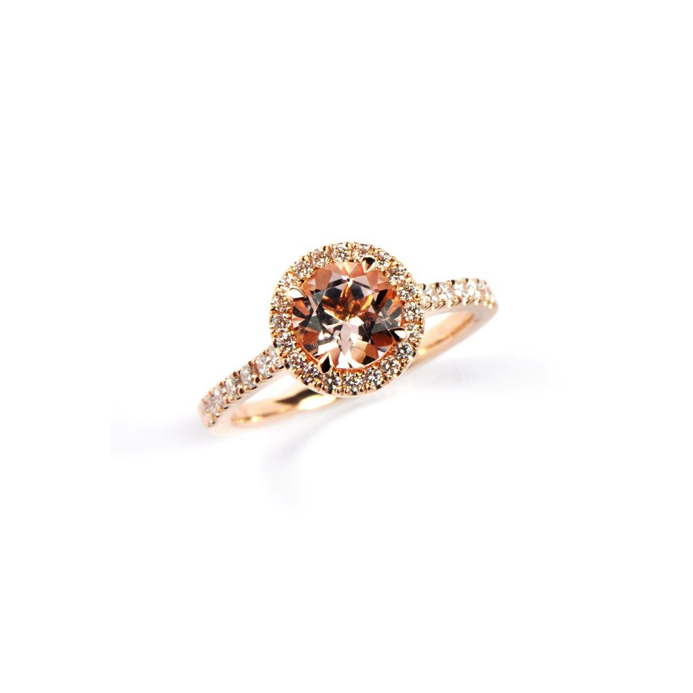 rose gold Morganite florence ring with diamond pave
