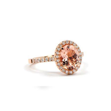 oval Morganite montana engagement ring diamond pave
