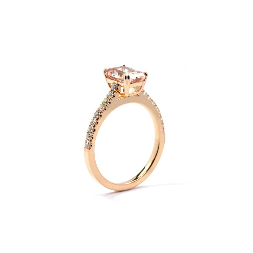 Morganite roseanne ring diamond pave 2