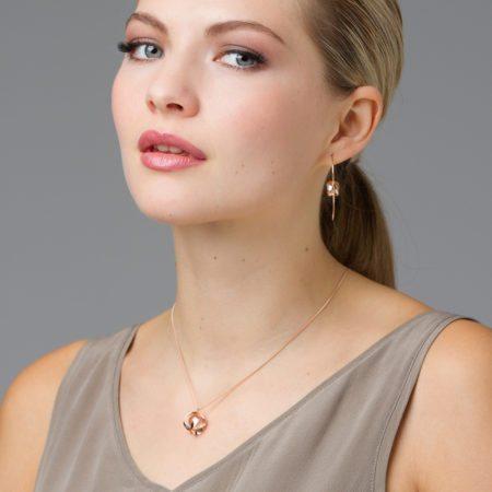 Rose gold & quartz pendant and earrings 2