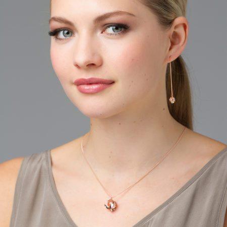 Rose gold & quartz pendant and earrings