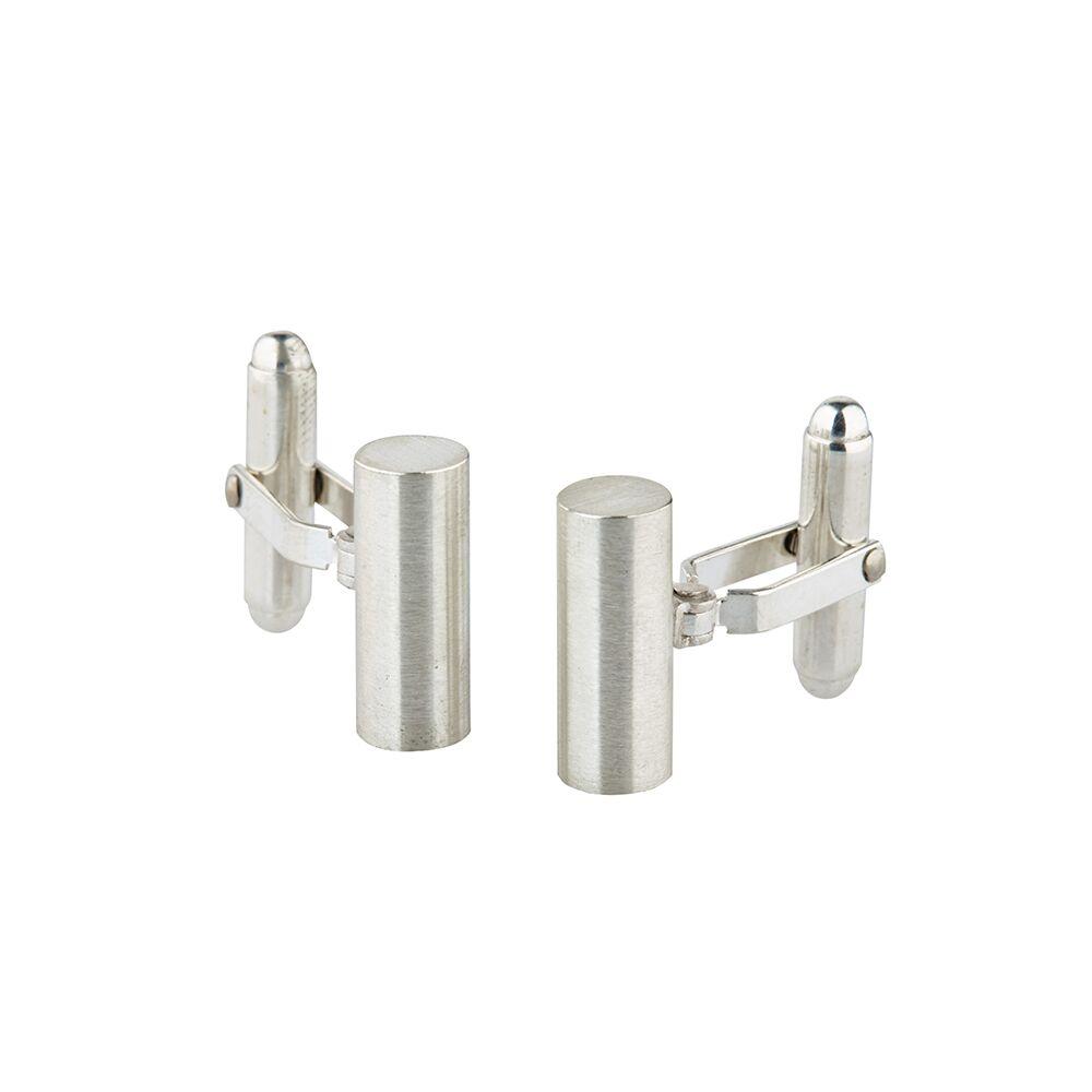 Round bar silver cufflinks