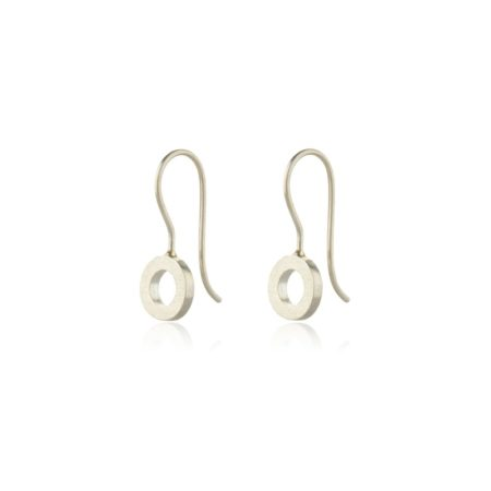 Silver small hoop drop earrings - matte