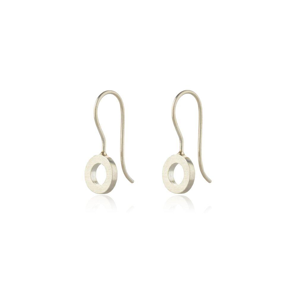 Silver small hoop drop earrings - matte